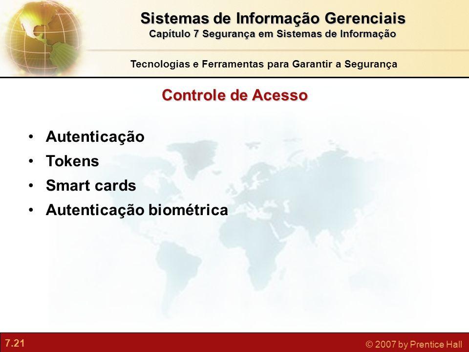 7.21 © 2007 by Prentice Hall Controle de Acesso Tecnologias e Ferramentas para Garantir a Segurança Autenticação Tokens Smart cards Autenticação biomé