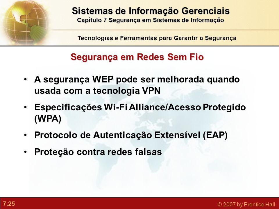 7.25 © 2007 by Prentice Hall A segurança WEP pode ser melhorada quando usada com a tecnologia VPN Especificações Wi-Fi Alliance/Acesso Protegido (WPA)