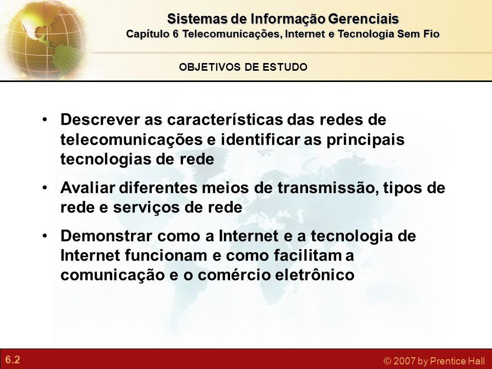 6.23 © 2007 by Prentice Hall Sistemas de Informação Gerenciais Capítulo 6 Telecomunicações, Internet e Tecnologia Sem Fio Dispositivos sem fio (PDAs, máquinas de e-mail, telefones inteligentes) Sistemas celulares Gerações e padrões de rede celular(GSM, CDMA) Gerações de celulares (SMS, 3G, 2.5G) Padrões móveis sem fio para acesso à Web (WAP, I-mode) Acesso à Internet e redes de computação sem fio Bluetooth (PANs) Wi-Fi (pontos de acesso) Wi-fi e acesso à Internet sem fio (hotspots) WiMax Banda larga celular sem fio (EV-DO) A Revolução Sem Fio