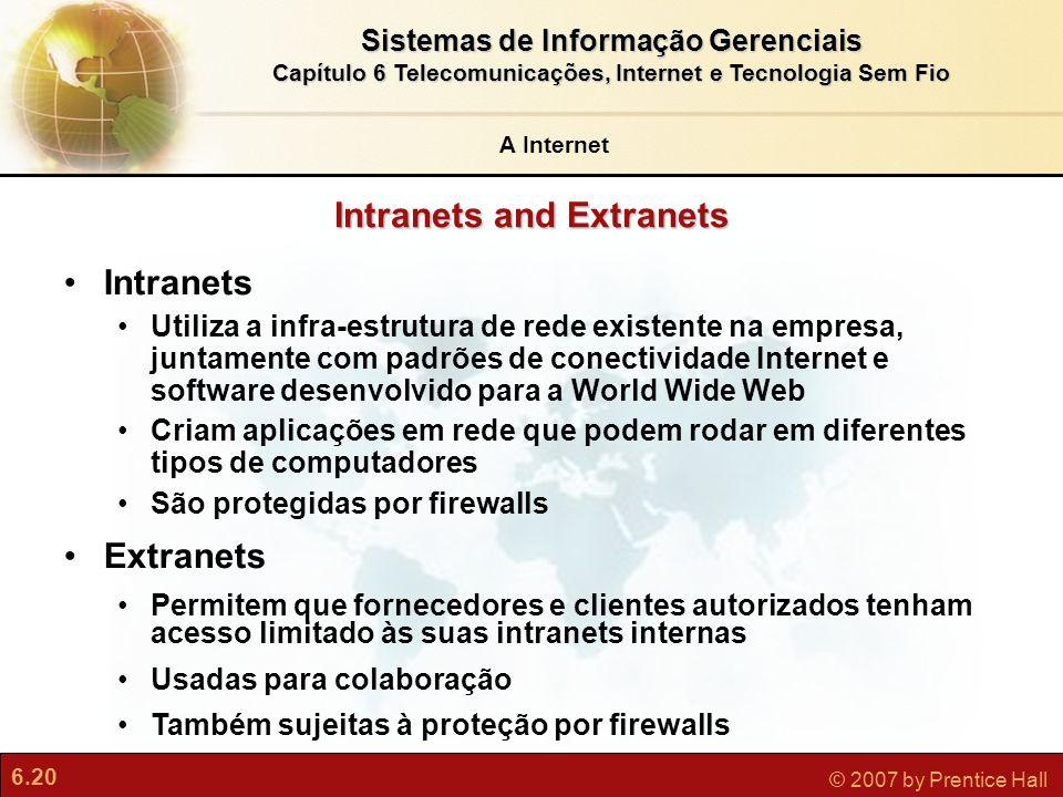 6.20 © 2007 by Prentice Hall Sistemas de Informação Gerenciais Capítulo 6 Telecomunicações, Internet e Tecnologia Sem Fio Intranets and Extranets Intr