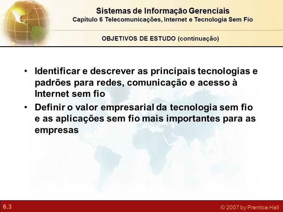 6.14 © 2007 by Prentice Hall Sistemas de Informação Gerenciais Capítulo 6 Telecomunicações, Internet e Tecnologia Sem Fio O que é a Internet.