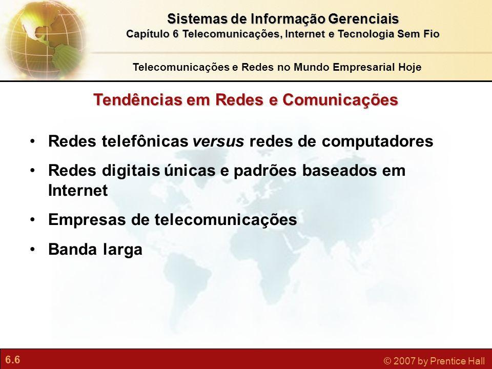 6.7 © 2007 by Prentice Hall Sistemas de Informação Gerenciais Capítulo 6 Telecomunicações, Internet e Tecnologia Sem Fio O Que É uma Rede de Computadores.