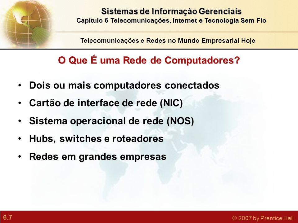 6.7 © 2007 by Prentice Hall Sistemas de Informação Gerenciais Capítulo 6 Telecomunicações, Internet e Tecnologia Sem Fio O Que É uma Rede de Computado