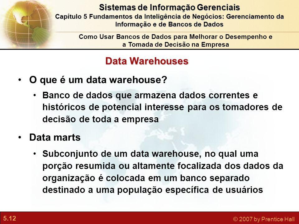 5.12 © 2007 by Prentice Hall Sistemas de Informação Gerenciais Capítulo 5 Fundamentos da Inteligência de Negócios: Gerenciamento da Informação e de Ba