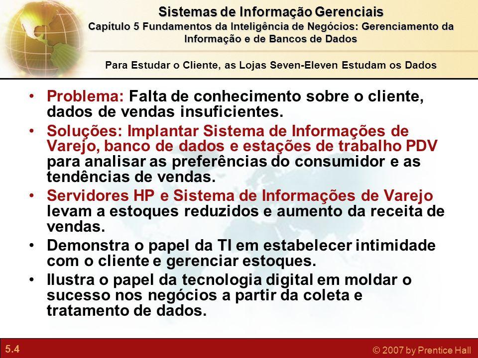 5.4 © 2007 by Prentice Hall Sistemas de Informação Gerenciais Capítulo 5 Fundamentos da Inteligência de Negócios: Gerenciamento da Informação e de Ban