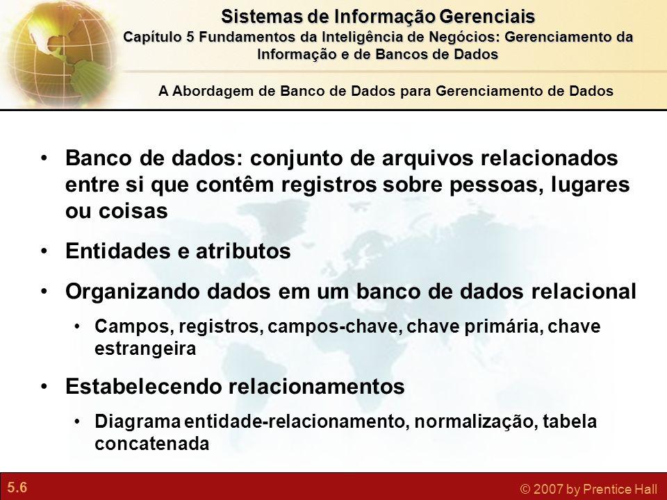 5.6 © 2007 by Prentice Hall Sistemas de Informação Gerenciais Capítulo 5 Fundamentos da Inteligência de Negócios: Gerenciamento da Informação e de Ban