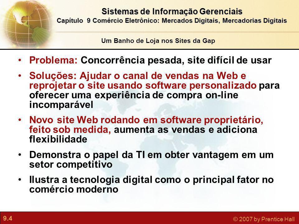 9.5 © 2007 by Prentice Hall Sistemas de Informação Gerenciais Capítulo 9 Comércio Eletrônico: Mercados Digitais, Mercadorias Digitais Que experiências você teve com compras on-line.