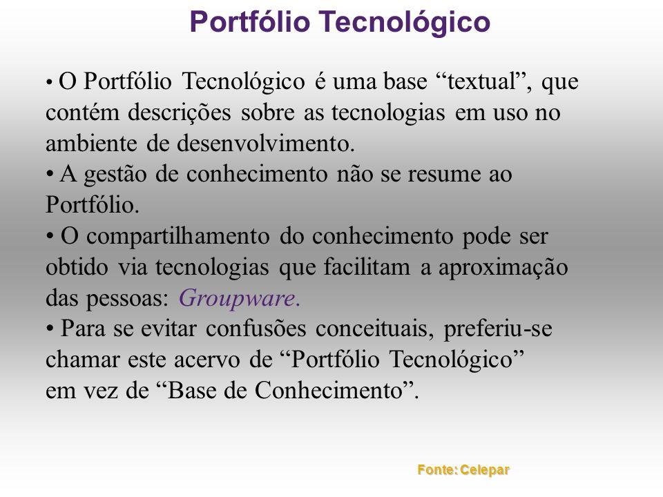 O Portfólio Tecnológico é uma base textual, que contém descrições sobre as tecnologias em uso no ambiente de desenvolvimento. A gestão de conhecimento