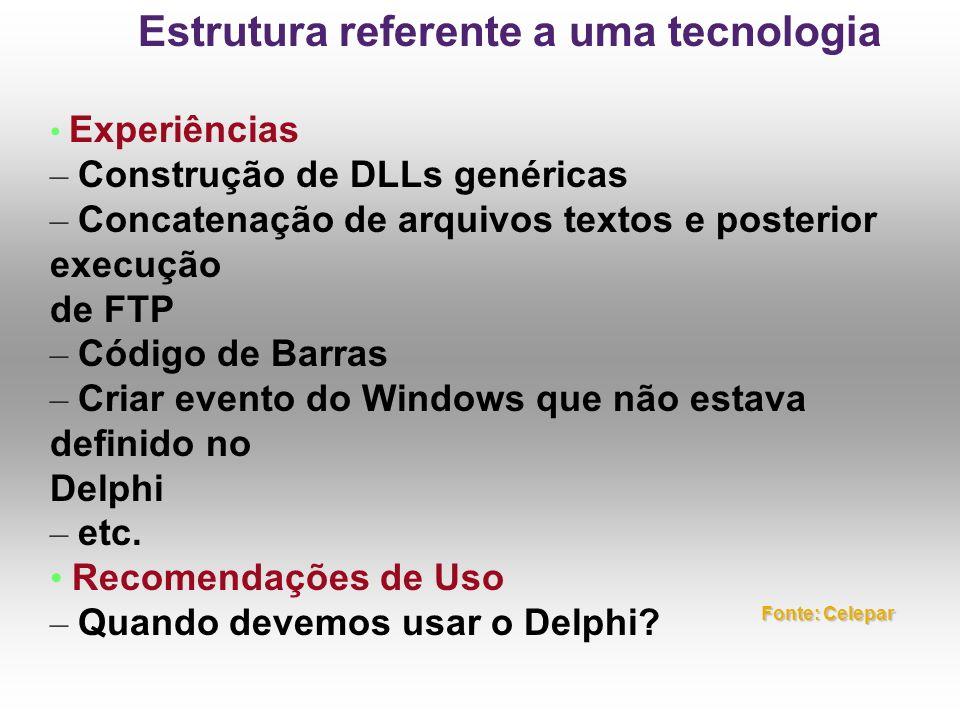 Experiências – Construção de DLLs genéricas – Concatenação de arquivos textos e posterior execução de FTP – Código de Barras – Criar evento do Windows