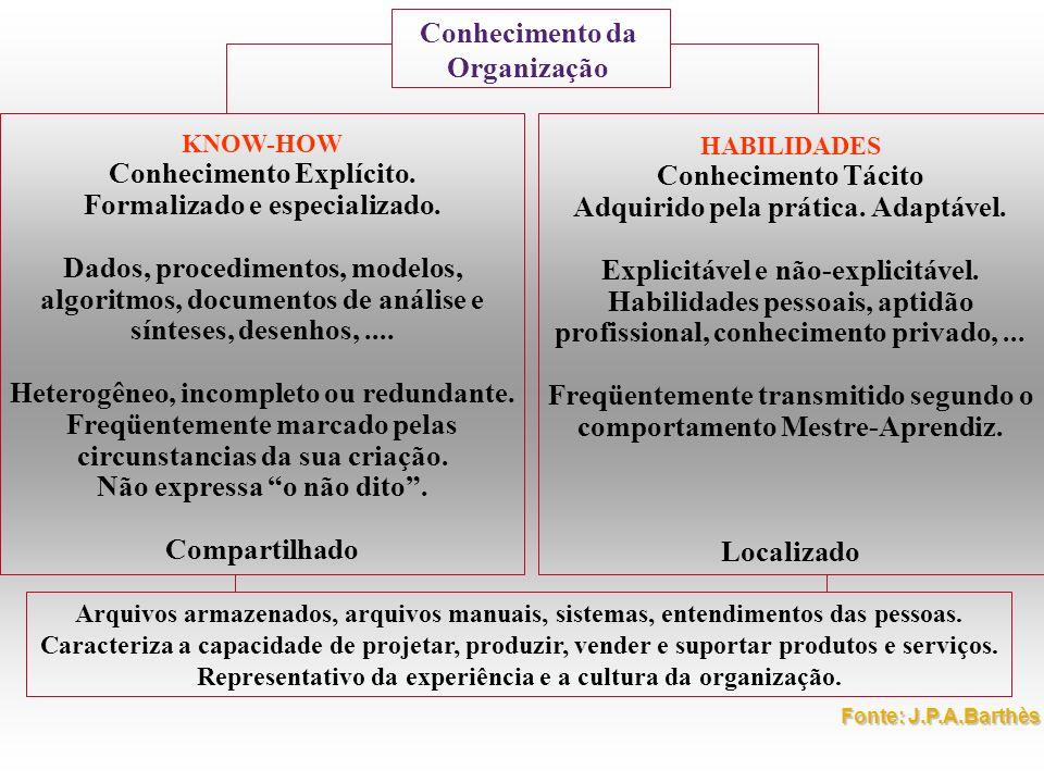 Conhecimento da Organização KNOW-HOW Conhecimento Explícito. Formalizado e especializado. Dados, procedimentos, modelos, algoritmos, documentos de aná