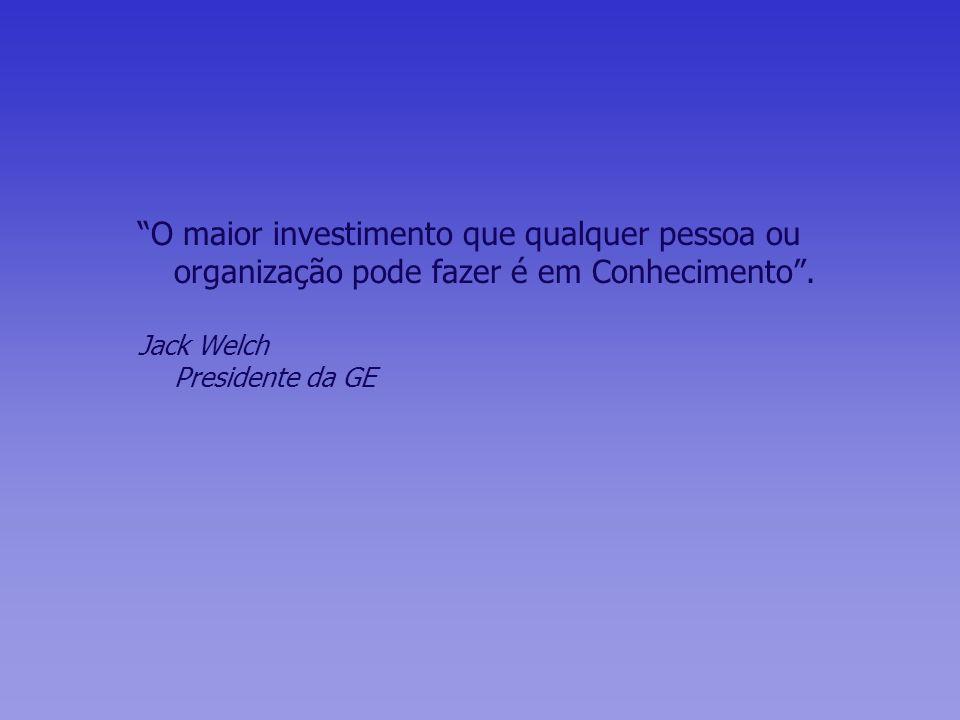 O maior investimento que qualquer pessoa ou organização pode fazer é em Conhecimento. Jack Welch Presidente da GE
