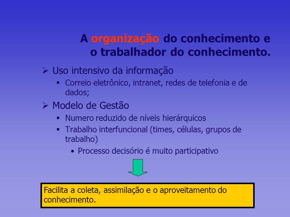 A organização do conhecimento e o trabalhador do conhecimento. Uso intensivo da informação Correio eletrônico, intranet, redes de telefonia e de dados