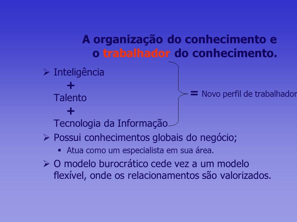 A organização do conhecimento e o trabalhador do conhecimento. Inteligência + Talento + Tecnologia da Informação Possui conhecimentos globais do negóc