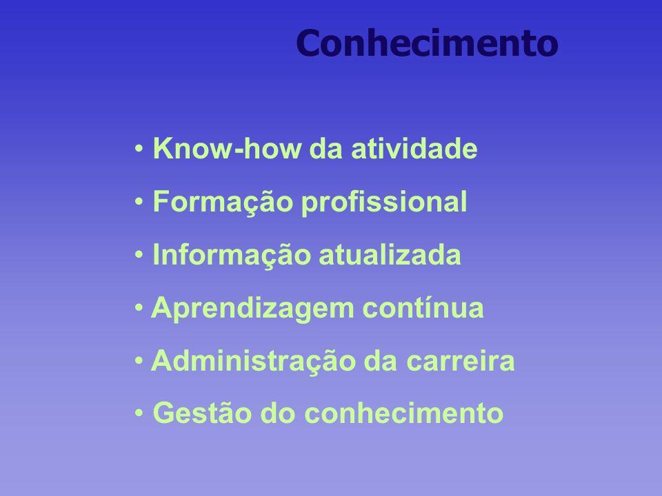 Conhecimento Know-how da atividade Formação profissional Informação atualizada Aprendizagem contínua Administração da carreira Gestão do conhecimento