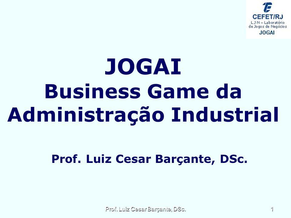 JOGAI Business Game da Administração Industrial Prof. Luiz Cesar Barçante, DSc. 1