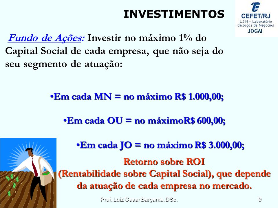 Investir no máximo 1% do Fundo de Ações: Investir no máximo 1% do Capital Social de cada empresa, que não seja do seu segmento de atuação: INVESTIMENTOS Em cada MN = no máximo R$ 1.000,00;Em cada MN = no máximo R$ 1.000,00; Em cada OU = no máximoR$ 600,00;Em cada OU = no máximoR$ 600,00; Em cada JO = no máximo R$ 3.000,00;Em cada JO = no máximo R$ 3.000,00; Retorno sobre ROI (Rentabilidade sobre Capital Social), que depende da atuação de cada empresa no mercado.