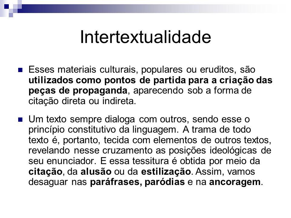 Intertextualidade Esses materiais culturais, populares ou eruditos, são utilizados como pontos de partida para a criação das peças de propaganda, apar