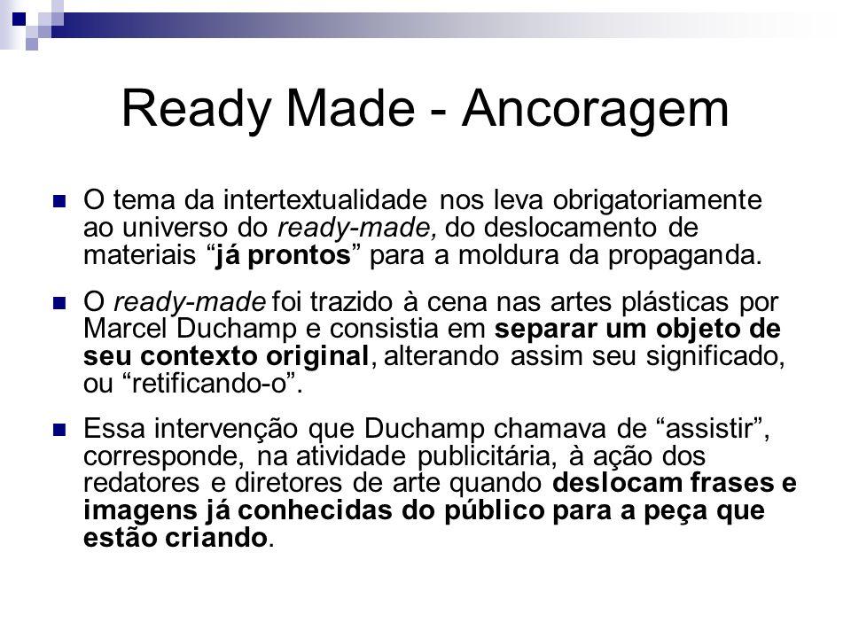 Ready Made - Ancoragem O tema da intertextualidade nos leva obrigatoriamente ao universo do ready-made, do deslocamento de materiais já prontos para a