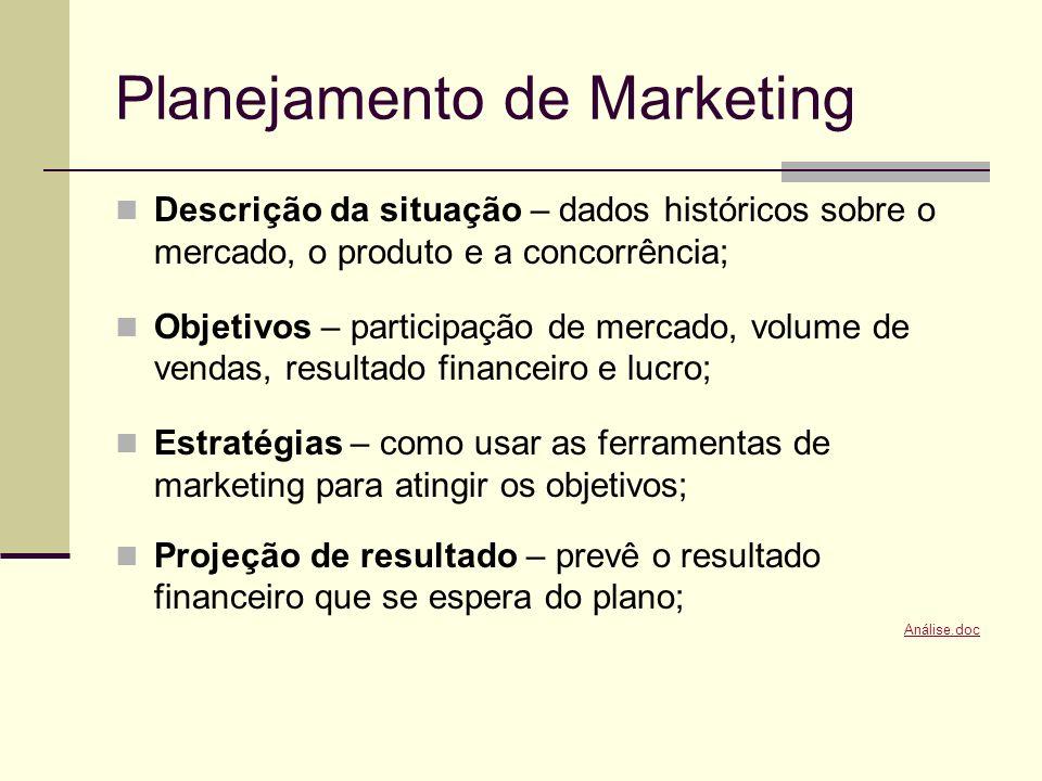 Planejamento de Marketing Descrição da situação – dados históricos sobre o mercado, o produto e a concorrência; Objetivos – participação de mercado, v