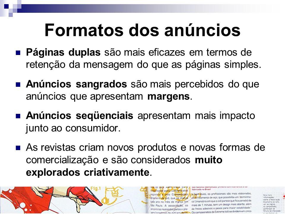 Formatos dos anúncios Páginas duplas são mais eficazes em termos de retenção da mensagem do que as páginas simples. Anúncios sangrados são mais perceb