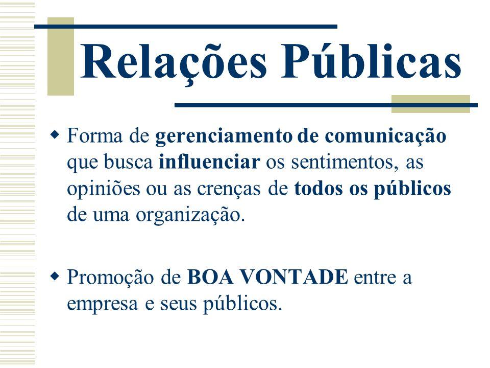 Relações Públicas Forma de gerenciamento de comunicação que busca influenciar os sentimentos, as opiniões ou as crenças de todos os públicos de uma or