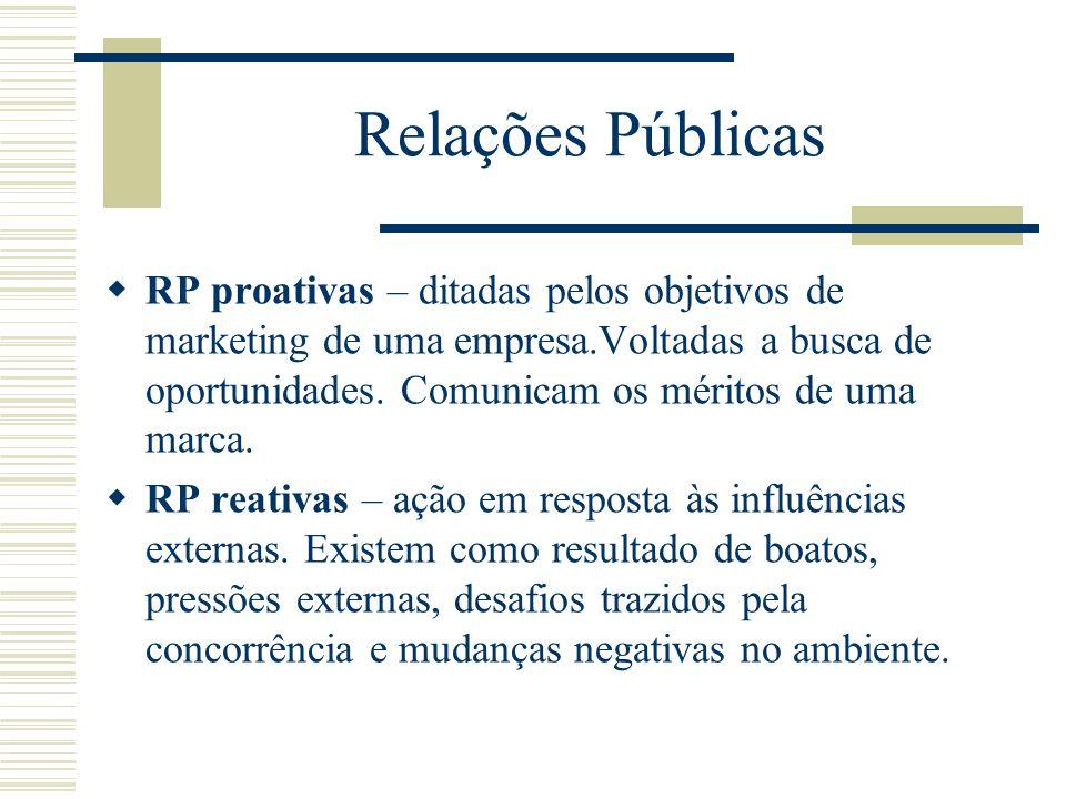Relações Públicas RP proativas – ditadas pelos objetivos de marketing de uma empresa.Voltadas a busca de oportunidades. Comunicam os méritos de uma ma