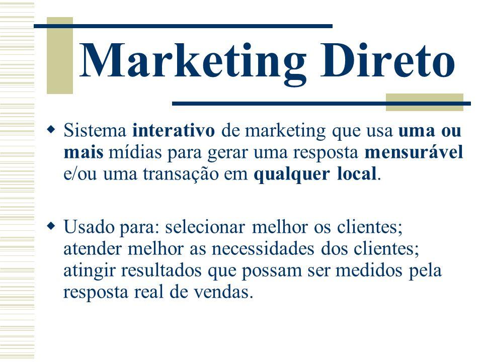 Marketing Direto Sistema interativo de marketing que usa uma ou mais mídias para gerar uma resposta mensurável e/ou uma transação em qualquer local. U