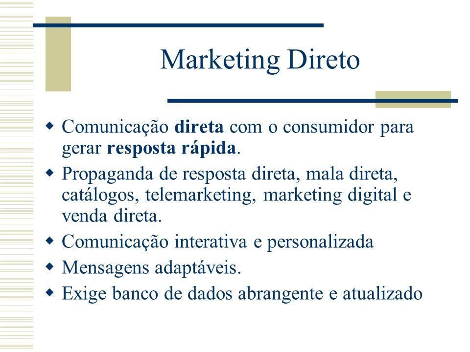 Marketing Direto Comunicação direta com o consumidor para gerar resposta rápida. Propaganda de resposta direta, mala direta, catálogos, telemarketing,