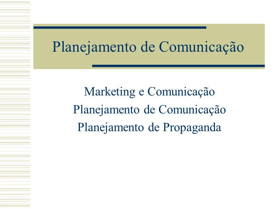 Planejamento de Comunicação Marketing e Comunicação Planejamento de Comunicação Planejamento de Propaganda