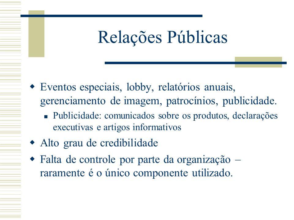 Relações Públicas Eventos especiais, lobby, relatórios anuais, gerenciamento de imagem, patrocínios, publicidade. Publicidade: comunicados sobre os pr