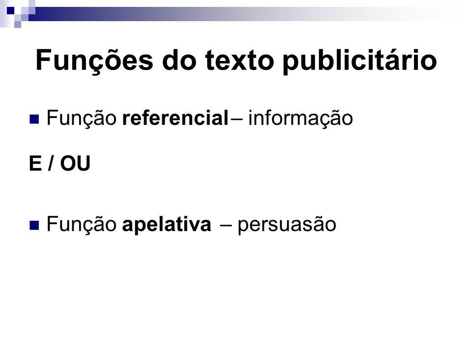 Funções do texto publicitário Função referencial – informação E / OU Função apelativa – persuasão