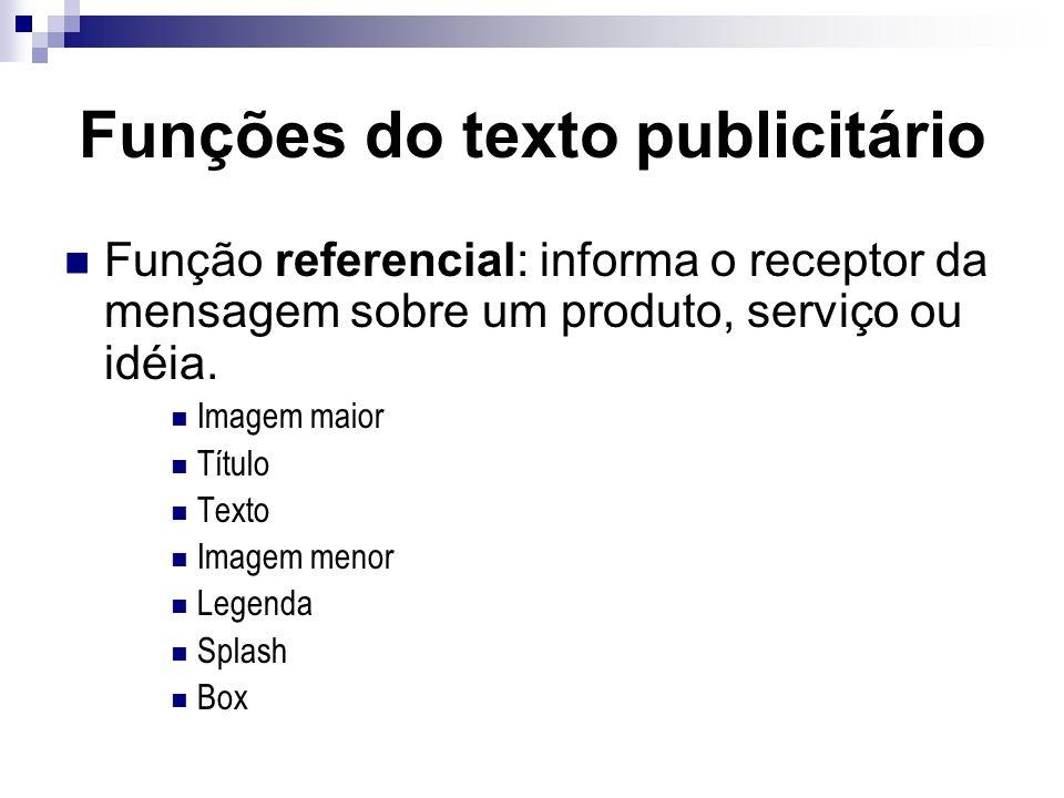 Funções do texto publicitário Função referencial: informa o receptor da mensagem sobre um produto, serviço ou idéia. Imagem maior Título Texto Imagem