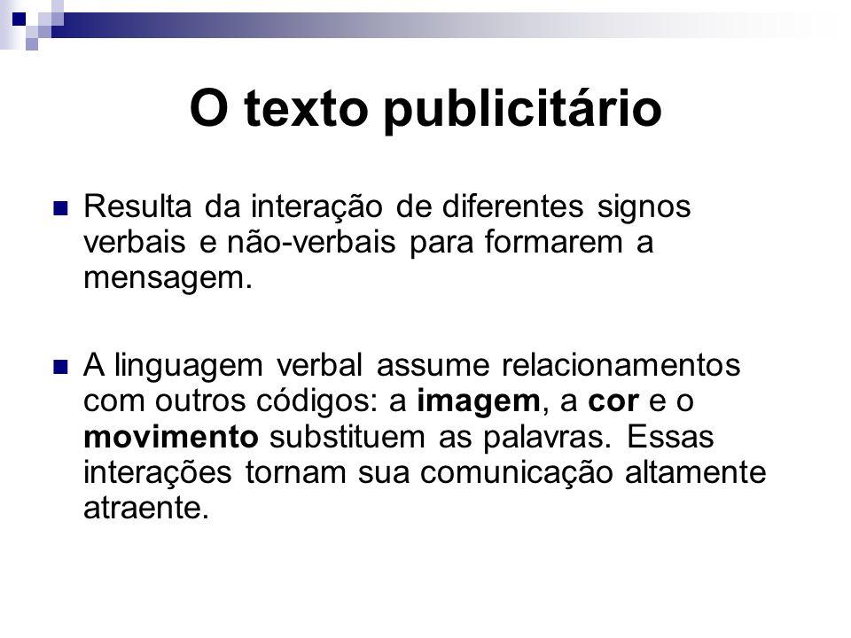 O texto publicitário Resulta da interação de diferentes signos verbais e não-verbais para formarem a mensagem. A linguagem verbal assume relacionament