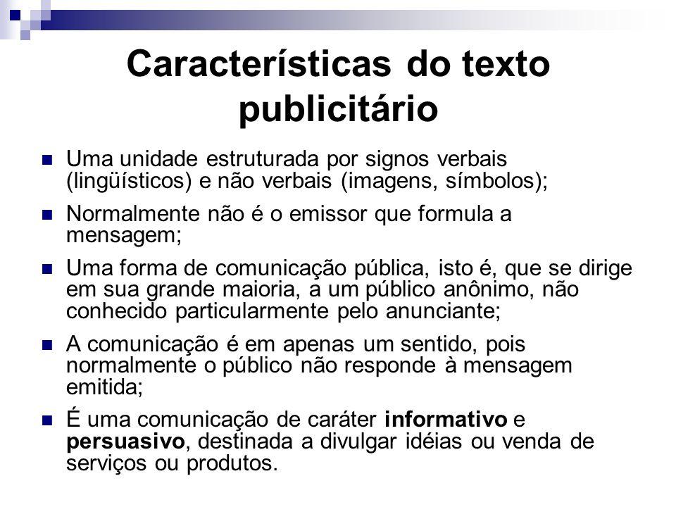Características do texto publicitário Uma unidade estruturada por signos verbais (lingüísticos) e não verbais (imagens, símbolos); Normalmente não é o