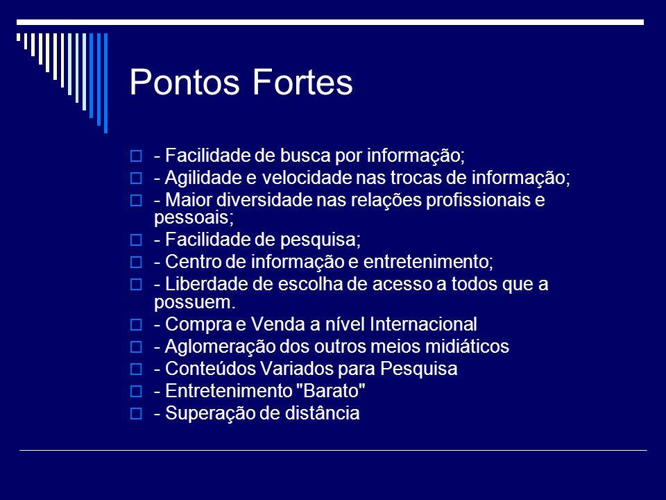 Pontos Fracos - Nem toda informação tem fonte segura; - Uso indiscriminado de informações errôneas; - Uso indevido de imagens e informações pessoais; - Portas abertas para crimes e abusos.