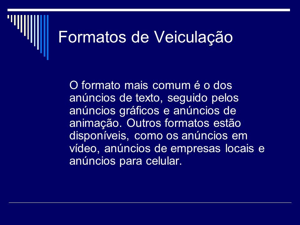 Formatos de Veiculação O formato mais comum é o dos anúncios de texto, seguido pelos anúncios gráficos e anúncios de animação. Outros formatos estão d