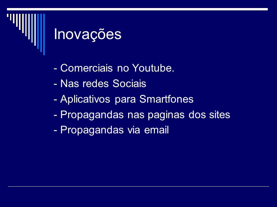 Inovações - Comerciais no Youtube. - Nas redes Sociais - Aplicativos para Smartfones - Propagandas nas paginas dos sites - Propagandas via email