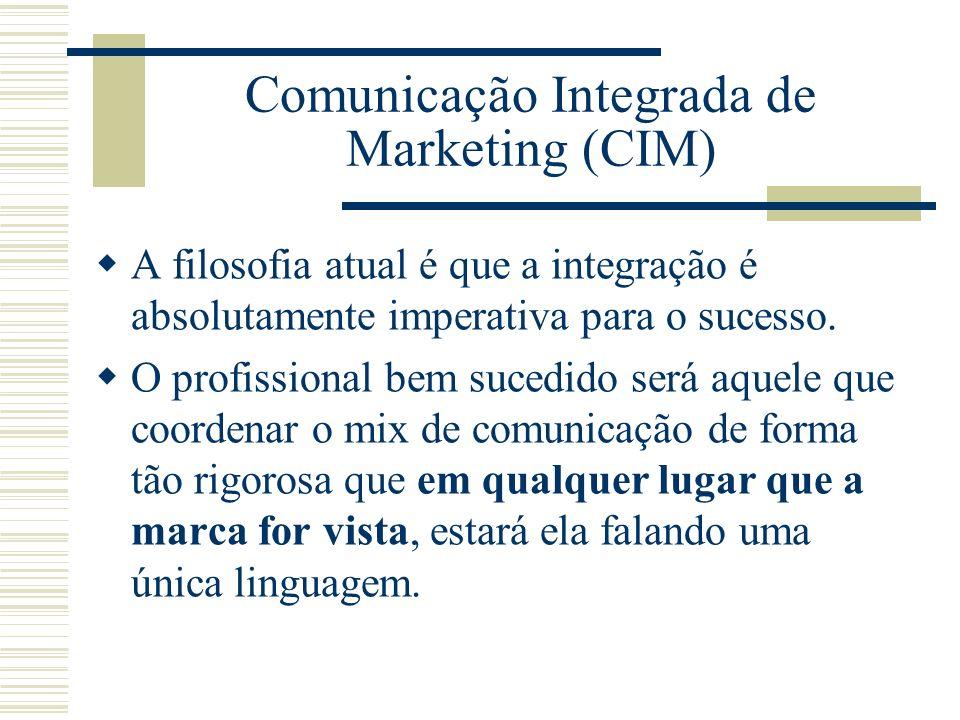 Comunicação Integrada de Marketing (CIM) A filosofia atual é que a integração é absolutamente imperativa para o sucesso. O profissional bem sucedido s