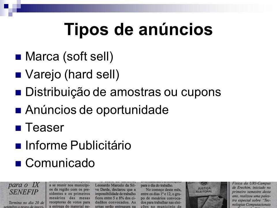 Tipos de anúncios Marca (soft sell) Varejo (hard sell) Distribuição de amostras ou cupons Anúncios de oportunidade Teaser Informe Publicitário Comunic