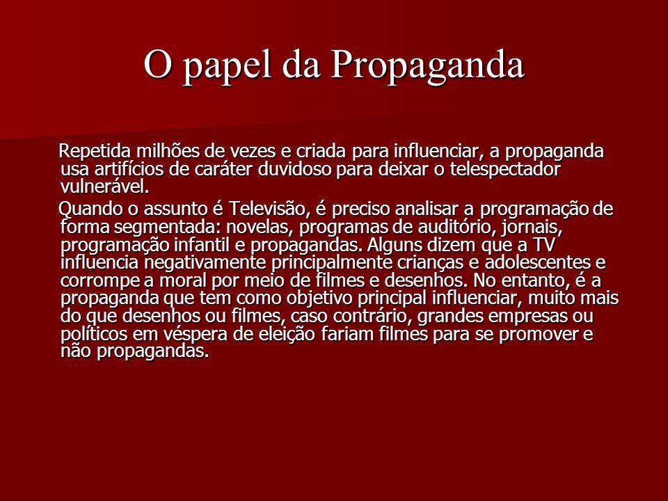O papel da Propaganda Repetida milhões de vezes e criada para influenciar, a propaganda usa artifícios de caráter duvidoso para deixar o telespectador