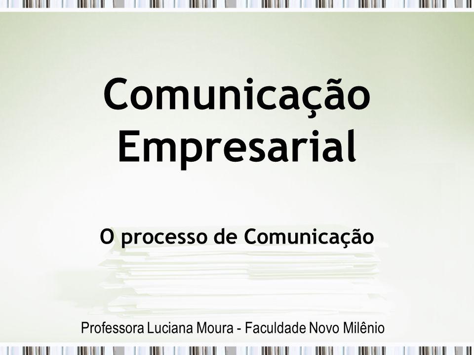 Comunicação Empresarial O processo de Comunicação Professora Luciana Moura - Faculdade Novo Milênio