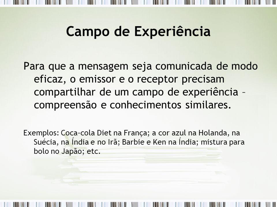 Campo de Experiência Para que a mensagem seja comunicada de modo eficaz, o emissor e o receptor precisam compartilhar de um campo de experiência – com