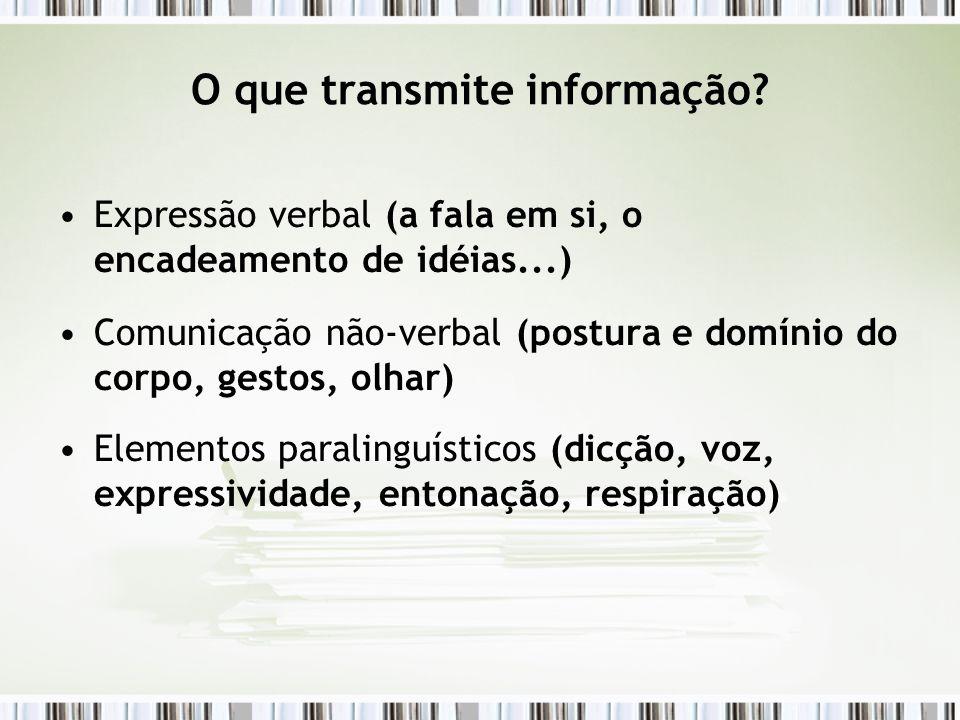 O que transmite informação? Expressão verbal (a fala em si, o encadeamento de idéias...) Comunicação não-verbal (postura e domínio do corpo, gestos, o