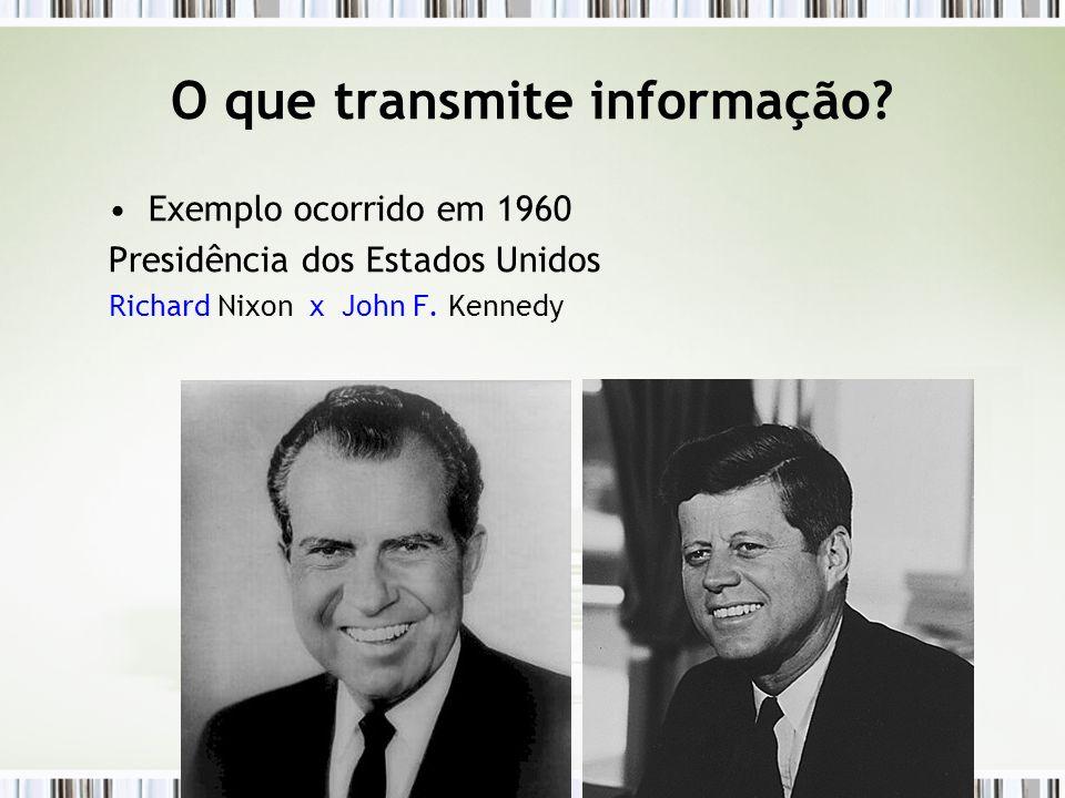 Exemplo ocorrido em 1960 Presidência dos Estados Unidos Richard Nixon x John F. Kennedy O que transmite informação?