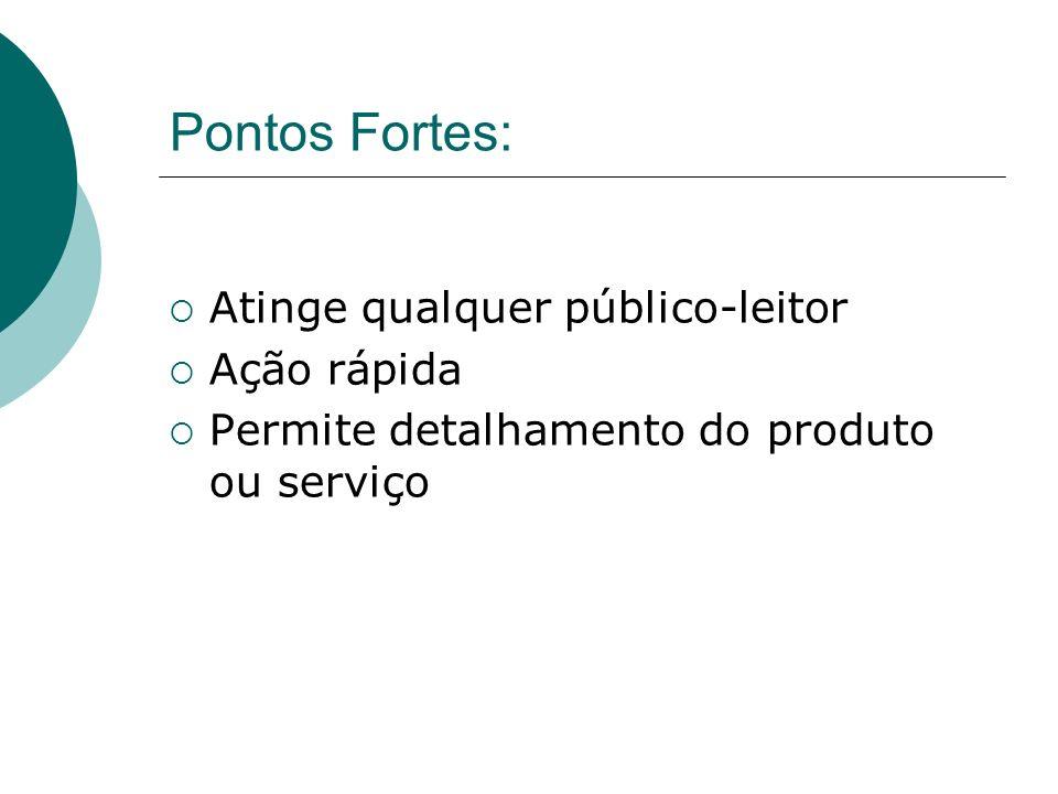 Pontos Fortes: Atinge qualquer público-leitor Ação rápida Permite detalhamento do produto ou serviço