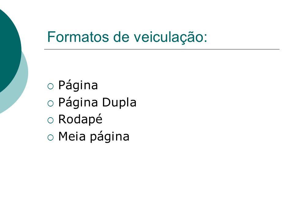 Formatos de veiculação: Página Página Dupla Rodapé Meia página