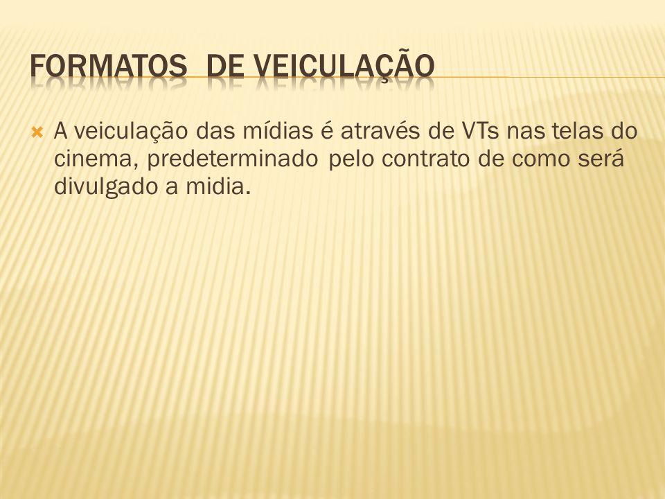 A veiculação das mídias é através de VTs nas telas do cinema, predeterminado pelo contrato de como será divulgado a midia.