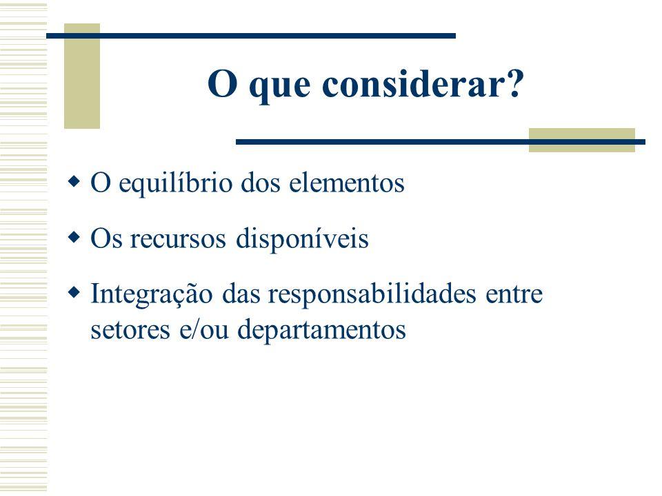 O que considerar? O equilíbrio dos elementos Os recursos disponíveis Integração das responsabilidades entre setores e/ou departamentos