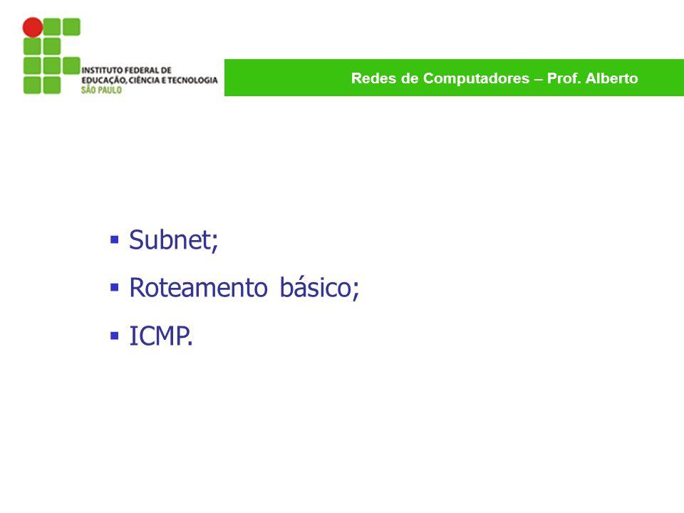 Redes de Computadores – Prof. Alberto Subnet; Roteamento básico; ICMP.
