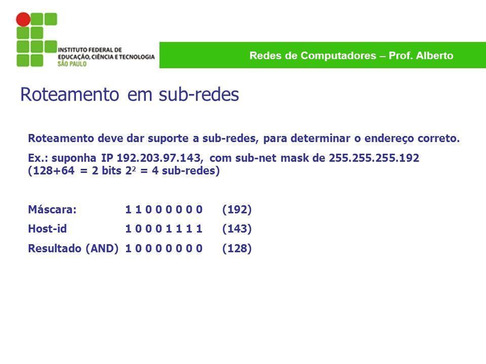 Redes de Computadores – Prof. Alberto Roteamento deve dar suporte a sub-redes, para determinar o endereço correto. Ex.: suponha IP 192.203.97.143, com